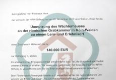 Römergrab-Weiden_Urkunde_Förderbeitrag